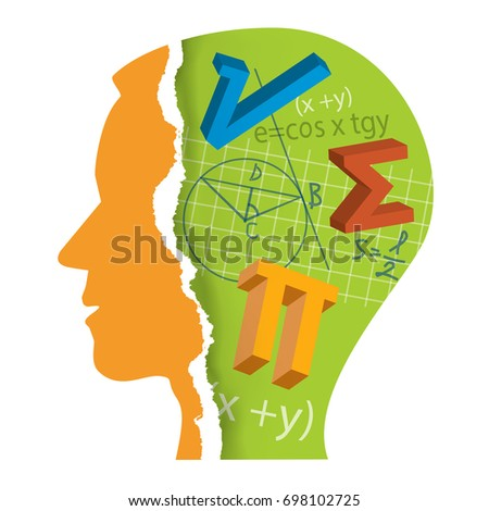 Mathematics Student Head silhouette. Stylized Male Head silhouette with mathematics symbols. Vector available.