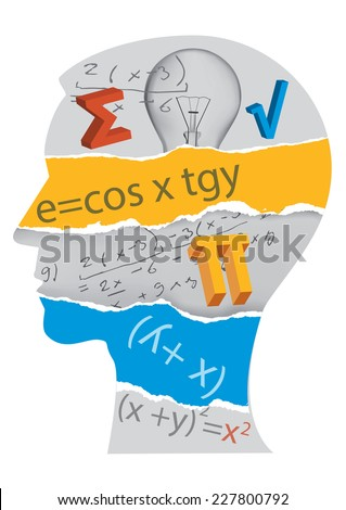 Mathematics student silhouette. Human Head silhouette with mathematics symbols. Vector illustration.