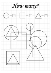 Mathematics task. How many objects. Learning mathematics, numbers. A4 worksheet for preschool kids.