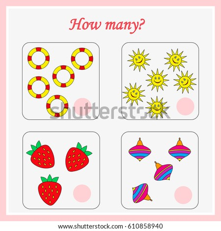 Mathematics task. How many objects. Learning mathematics, numbers. Tasks for addition (counting) for preschool kids, children