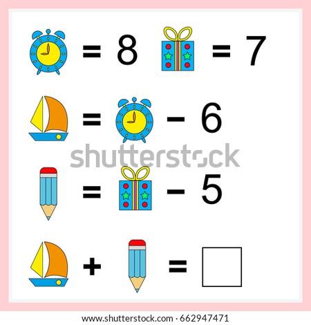 Mathematics task.  Learning mathematics, tasks for addition  for preschool  children. worksheet for preschool kids - vector