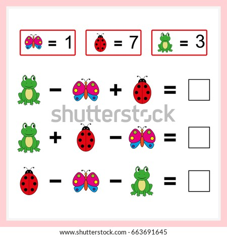 Mathematics task.  Learning mathematics, tasks for addition  for preschool  children. worksheet for preschool kids - vector