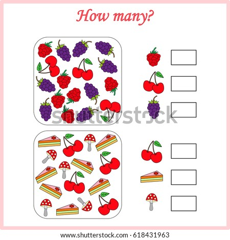 Mathematics task, worksheet. How many objects. Learning mathematics, numbers. Tasks for addition (counting) for preschool kids, children