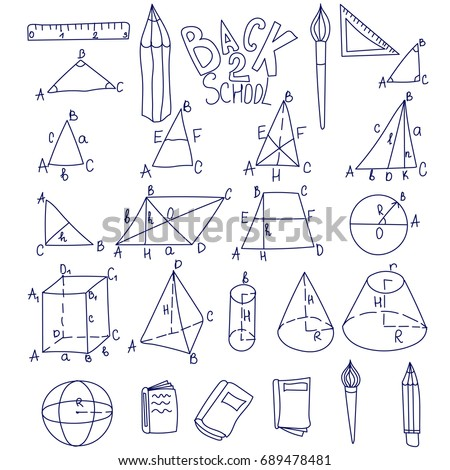Mathematics, trigonometry, algebra geometric shapes doodles with letters. Isolated vector illustrations on white background. Education school linear icons. Thin line set. Cube, triangle, cone, sphere