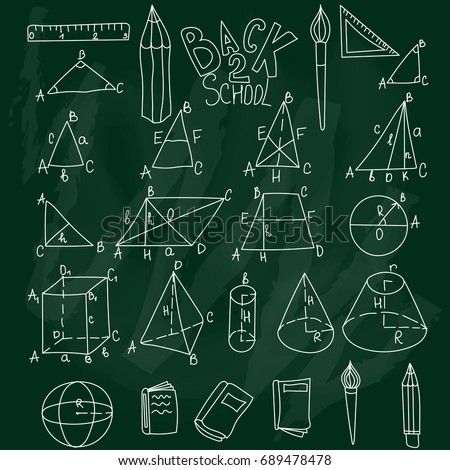 Mathematics, trigonometry, algebra geometric shapes doodles with letters. White vector education school linear icons on green desk background. Thin line set. Cube, triangle, cone, sphere