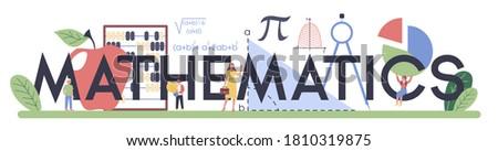 Mathematics typographic header. Learning mathematics, idea of education and knowledge. Science, technology, engineering, mathematics education. Isolated flat vector illustration