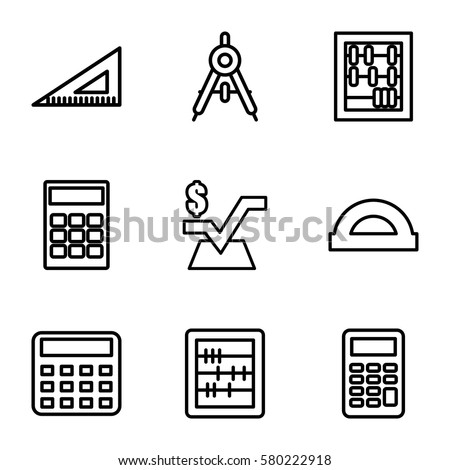 mathematics vector icons. Set of 9 mathematics outline icons such as compass, calculator, abacus, mathematical square, ruler