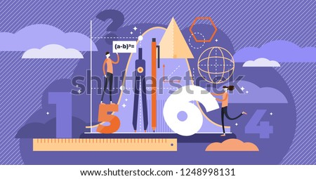 Mathematics vector illustration. Flat mini persons education concept. Algebra symbols with geometry figures used learning science in school or university. Arithmetic knowledge symbols collection set.