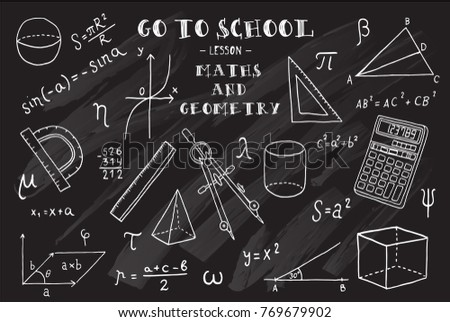 Maths and geometry. Hand sketches on the theme of Maths and geometry. Chalkboard. Vector illustration.