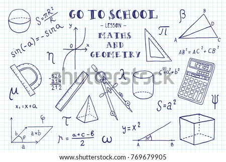 Maths and geometry. Hand sketches on the theme of Maths and geometry.   Note book page paper. Vector illustration.