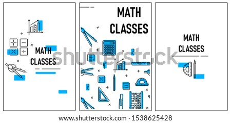 Maths. Banners for math school. Logo, cover. Set of elements and cards. Vector illustration isolated on white. Pattern.