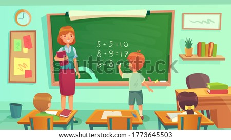 Maths class, woman teacher and pupils sitting at desks in room. Kids learning mathematics, having lesson. Boy doing calculation on blackboard. Education concept, knowledge vector illustration