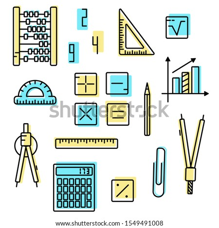 Maths concept. Educational set icons. Vector isolated on white. Symbols of mathematics, arithmetic, geometry, drawing. Studying at school, studying a school subject. Multicolor.