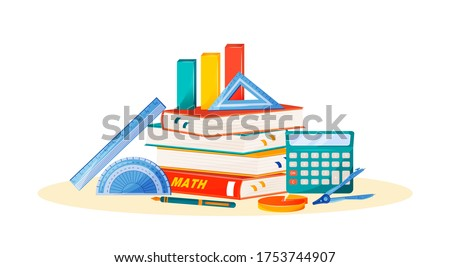 Maths flat concept vector illustration. School subject. Formal science metaphor. Algebra and geometry class. University course. Student textbook, calculator and ruler items 2D cartoon objects Foto stock ©