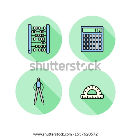 Maths. Flat icons set. Abacus, calculator, compass, protractor. For school math training. Vector illustration isolated on white.