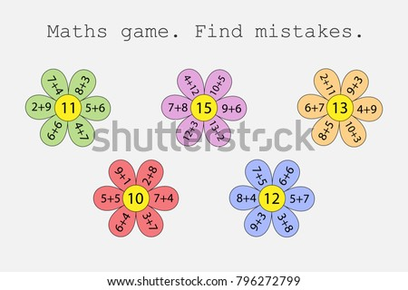 Maths game with flowers for children, find mistakes, what wrong, education game for kids, preschool worksheet activity, task for the development of logical thinking, vector illustration