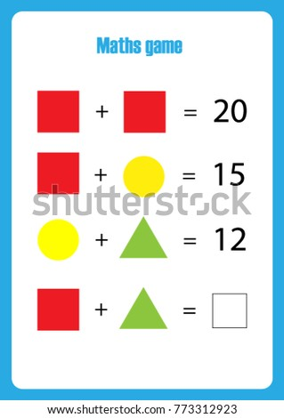 Maths game with pictures (geometric shapes) for children, easy level, education game for kids, preschool worksheet activity, task for the development of logical thinking, vector illustration