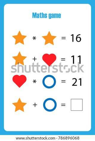 Maths game with pictures (geometric shapes) for children, middle level, education game for kids, preschool worksheet activity, task for the development of logical thinking, vector illustration