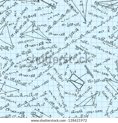 Maths seamless pattern. Tile for endless background. Swatch ready. And also includes EPS 8 vector