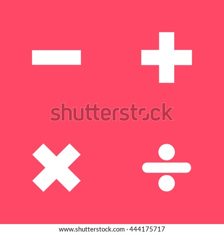 Maths Signs white icon on magenta color background. Eps-10.