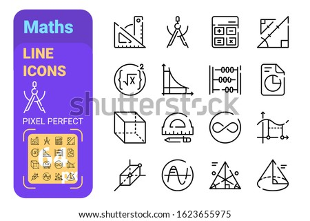 Maths symbols of algebra and geometry line icons set vector illustration. Collection of mathematical symbols with perfect pixel flat style design. Education trigonometry and science concept