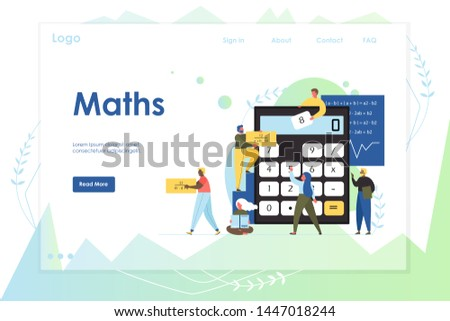 Maths vector website template, web page and landing page design for website and mobile site development. Mathematics education concept with characters doing sums using calculator mathematical formulas