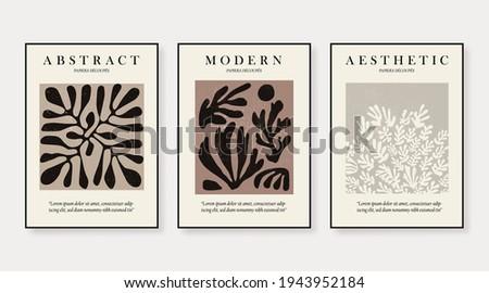 Matisse Abstract Art Set, Aesthetic Modern Art, Boho Decor, Minimalist Art, Illustattion, Vector, Poster, Postcard. Collection for decoration. Vector all isolated.