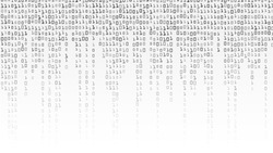 Matrix Background Vector. Binary Code Matrix. Black And White Digital Background With Digits On Screen. Data Technology Illustration