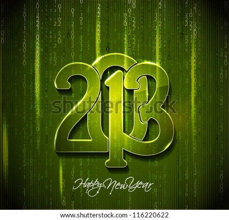 Matrix style new year 2013 background with green digits and rays