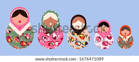 Matryoshka dolls. Modern Russian folklore dolls. Traditional Russian Matryoshka. Set of five floral dolls with hair and lips. Babushka doll. Beautiful hand drawn vector illustration for web and print.