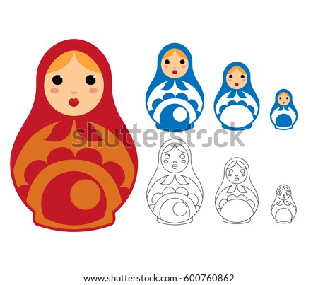 matryoshka dolls vector set of