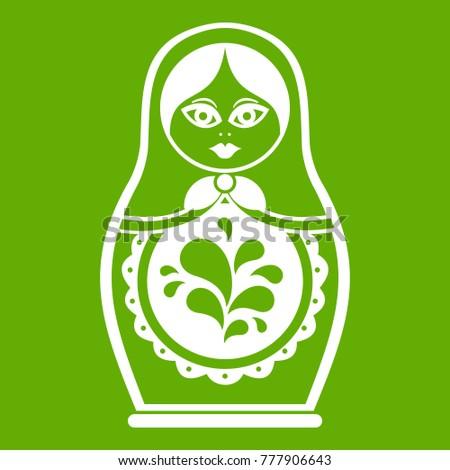 Matryoshka icon white isolated on green background. Vector illustration Stock fotó ©