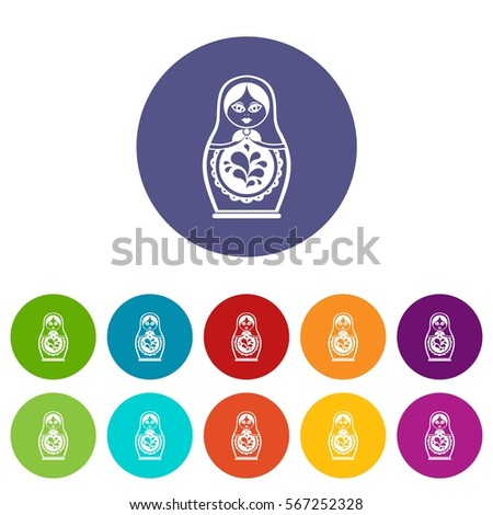 Matryoshka set icons in different colors isolated on white background Stock fotó ©