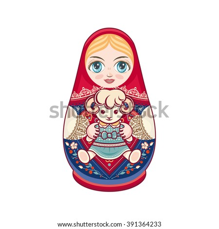 matryoshka with sheep russian