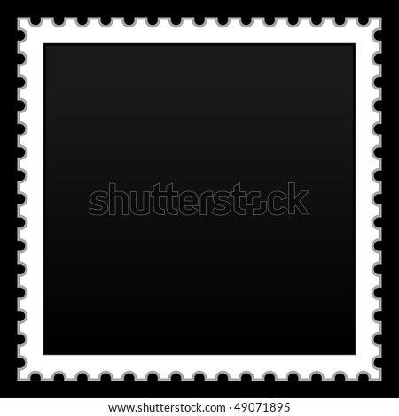 Satin smooth matted black empty postage stamp on black background