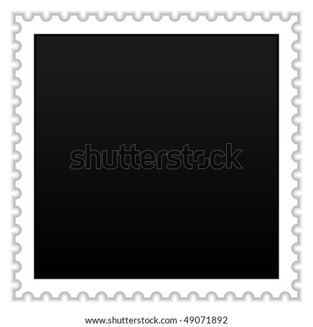 Satin smooth matted black blank postage stamp with shadow on white background