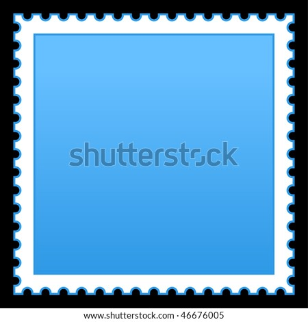 Satin smooth matted blue empty postage stamp on black background