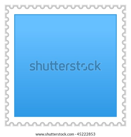 Satin smooth matted blue blank postage stamp with shadow on white background