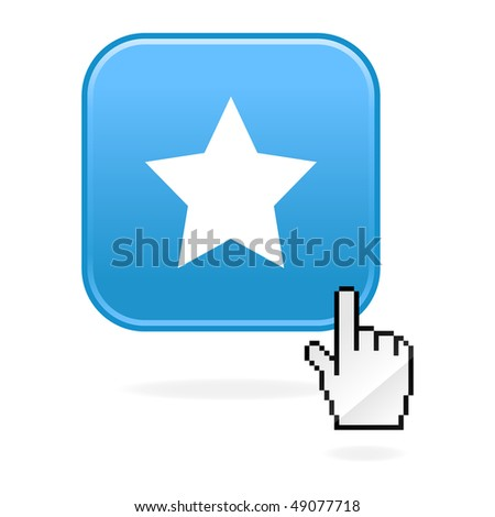 Matted blue buttons with star symbol and cursor hand on white
