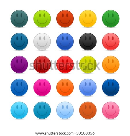 matted color smiley web buttons
