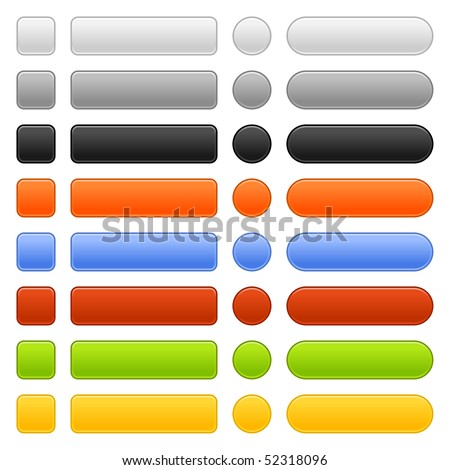 Matted colored blank web buttons on white background