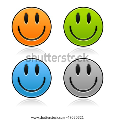 Satined smooth smiley faces with gray reflection on white background