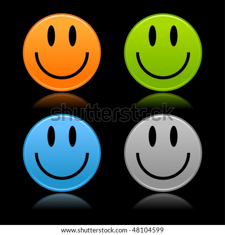 Satined smooth colorful smiley faces with reflection on black