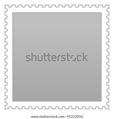 Satin smooth matted gray blank postage stamp with shadow on white background