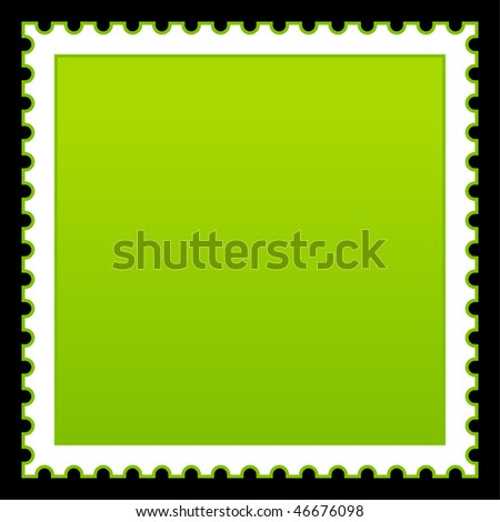 Satin smooth matted green empty postage stamp on black background