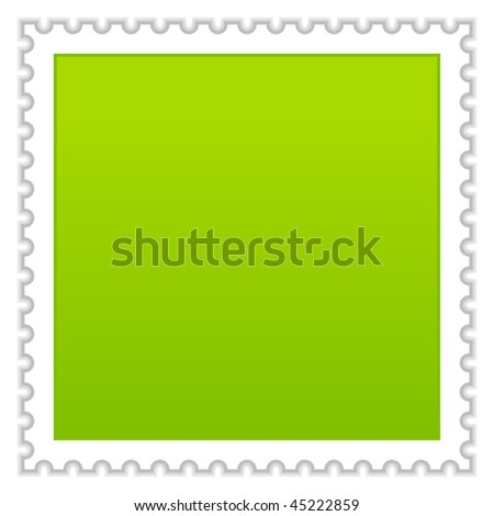 Satin smooth matted green blank postage stamp with shadow on white background