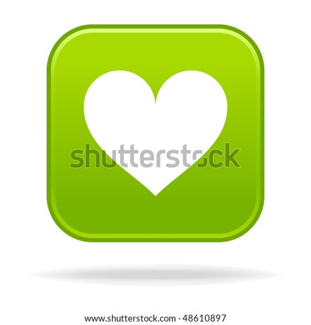 Matted green rounded squares buttons with heart symbol and drop shadow on white