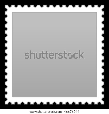 Satin smooth matted grey empty postage stamp on black background