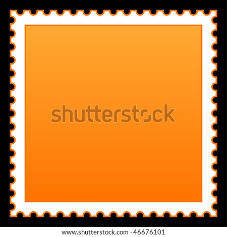 Satin smooth matted orange empty postage stamp on black background