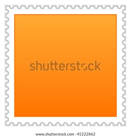 Satin smooth matted orange blank postage stamp with shadow on white background